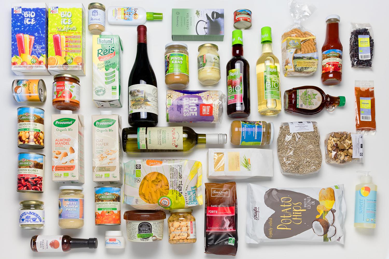 Een overzichtsfoto van verschillende biologische droogwaren die te bestellen zijn op de digitale boerenmarkt