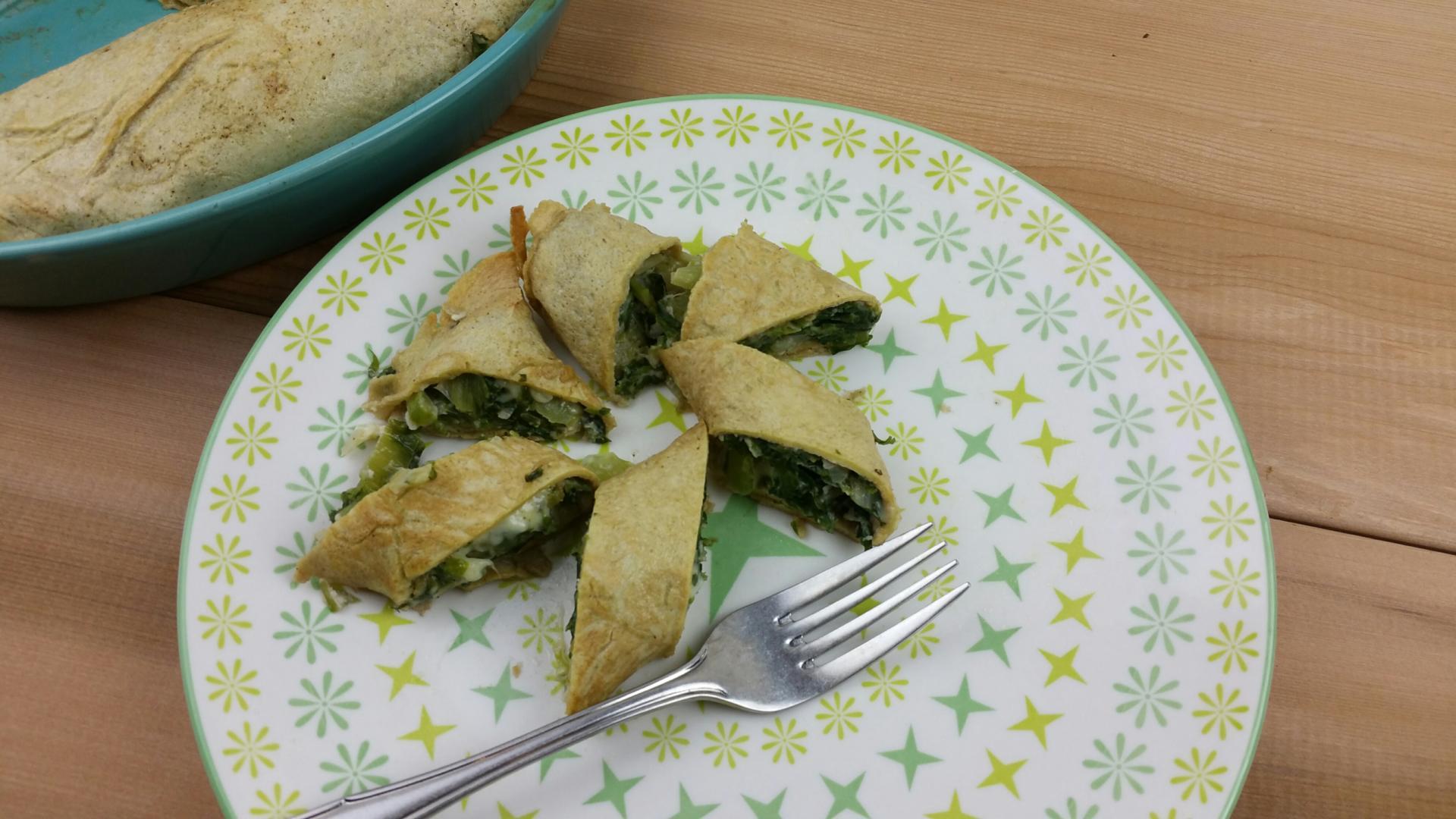 Uitgelichte foto voor het bericht Flensjes met andijvie en blauwe kaas