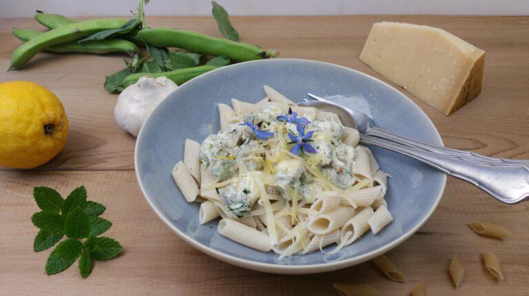 Thumbnail voor het recept: Tuinbonen met pasta