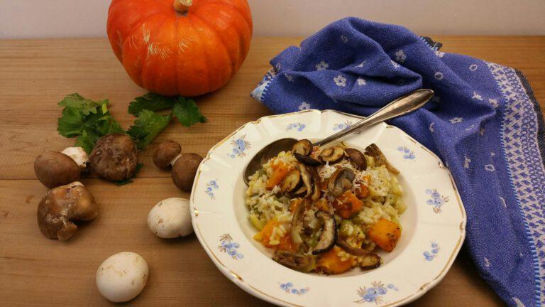 Thumbnail voor het recept: Risotto met pompoen & bleekselderij