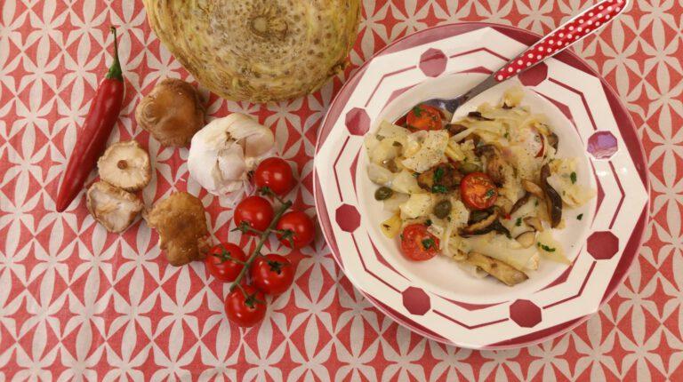 Thumbnail voor het recept: Knolselderij Aglio e Olio Etcetera