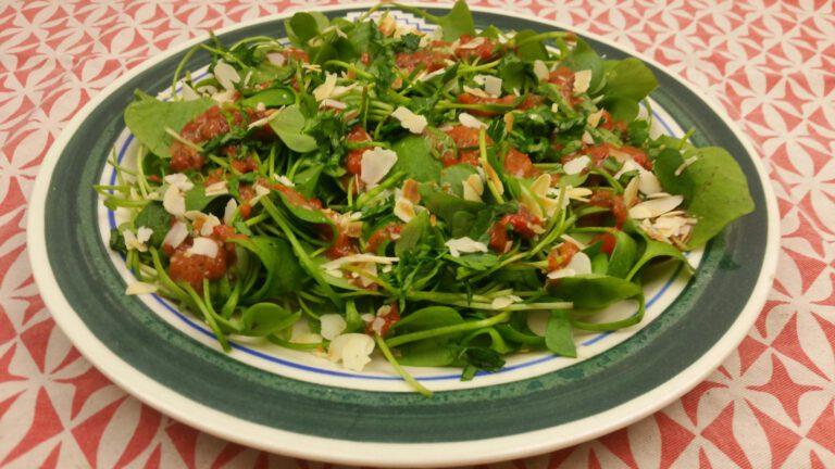 Thumbnail voor het recept: Winterpostelein salade met paprika dressing