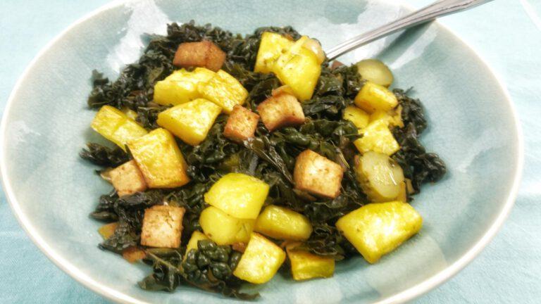 Thumbnail voor het recept: Boerenkool hussel met tofu