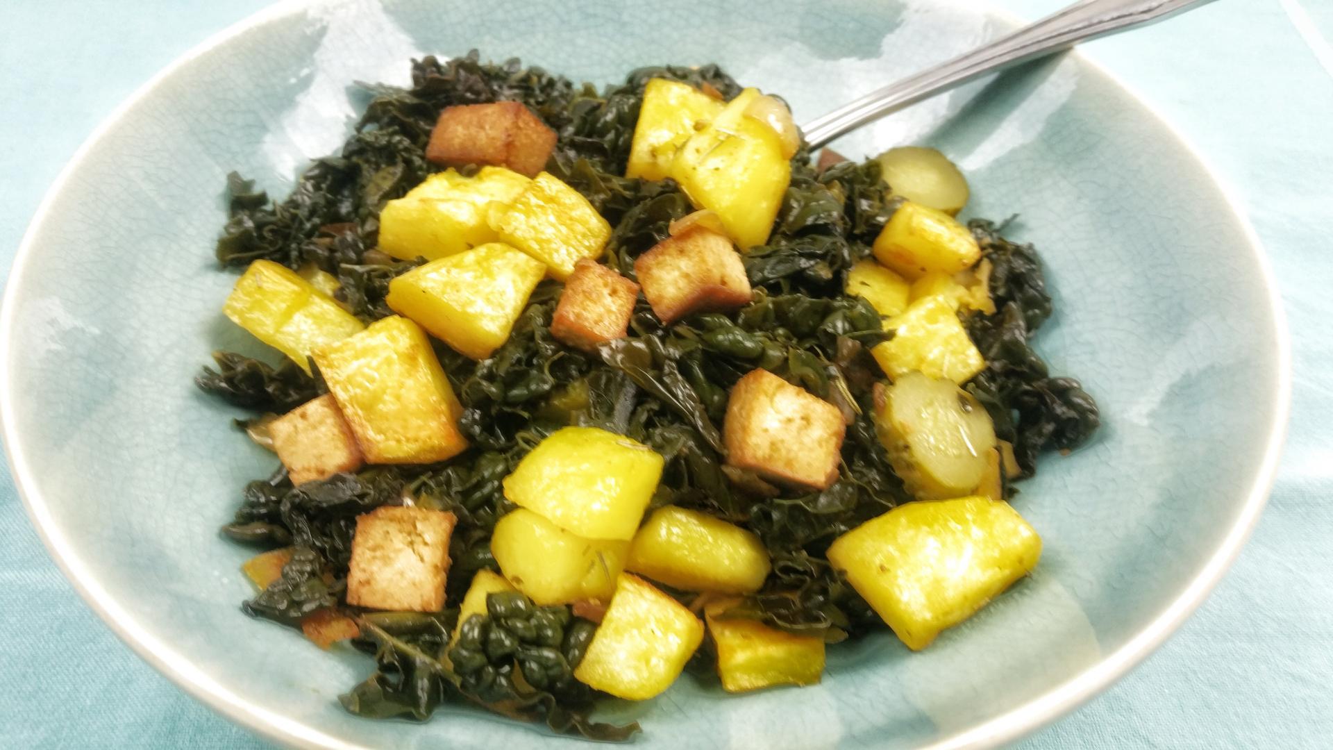 Uitgelichte foto voor het bericht Boerenkool hussel met tofu