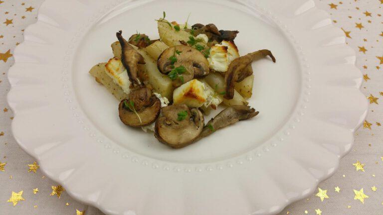 Thumbnail voor het recept: Schorseneren met geitenkaas en champignons