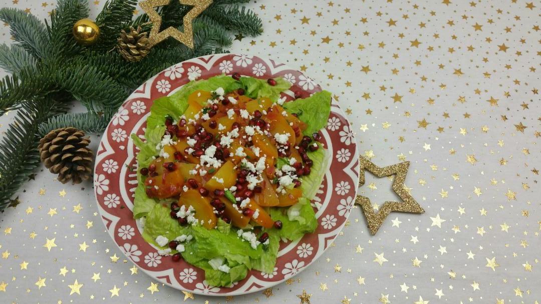 Gele bietjes salade met granaatappel en feta