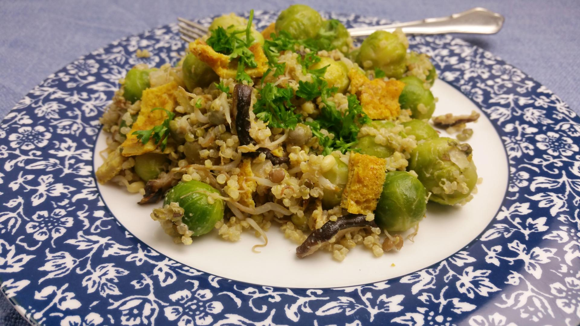 gemengde schotel met spruiten, sprouty en quinoa