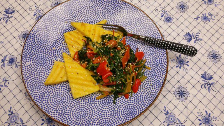 Thumbnail voor het recept: Snijbiet of boerenkool met miso en paprika