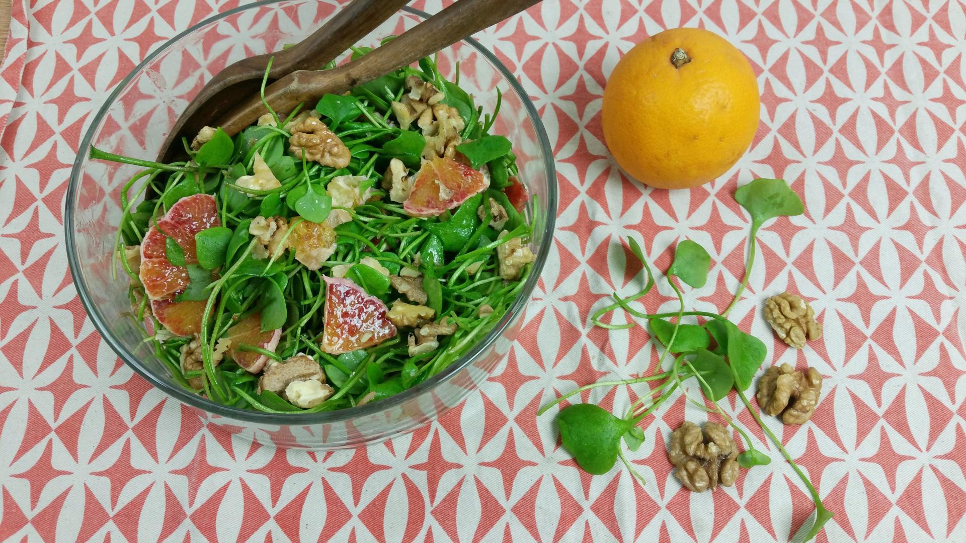 saklade van winterpostelien met sinaasappel en walnoten