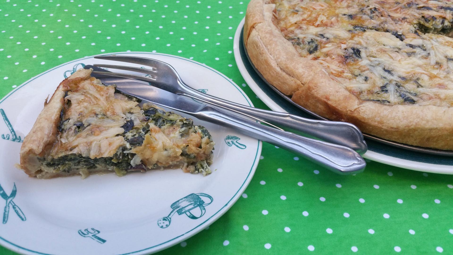Uitgelichte foto voor het bericht Quiche met spinazie en paddenstoelen