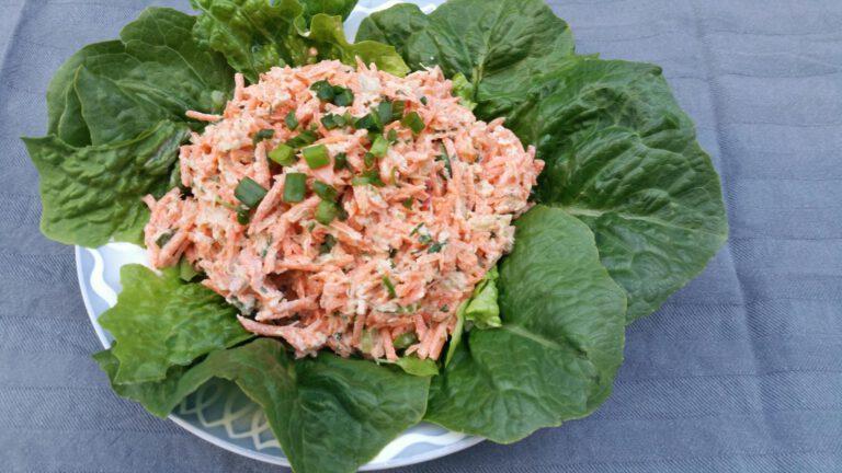 Thumbnail voor het recept: Salade met wortel en rabarber