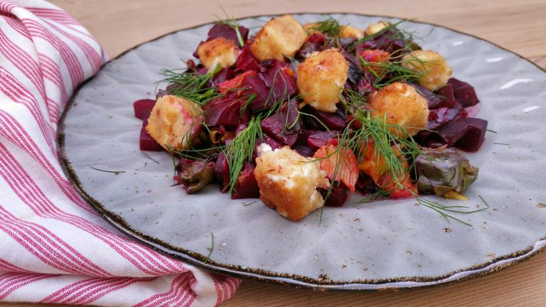 Thumbnail voor het recept: Bosbietjes met sinaasappel, rucola en gebakken feta