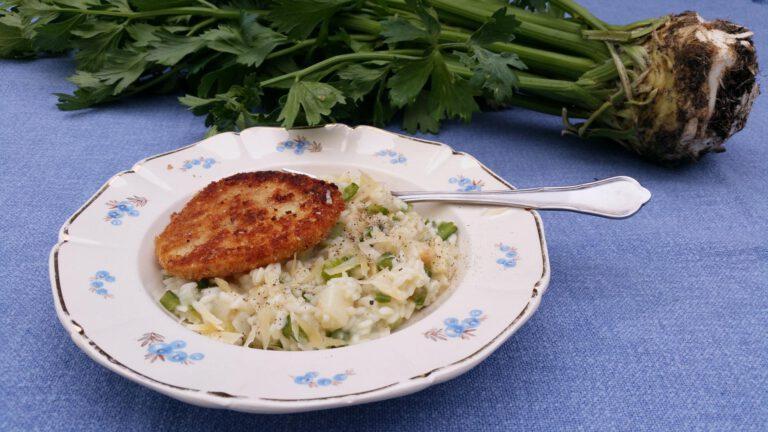 Thumbnail voor het recept: Knolselderij-risotto met knolselder-schnitzel