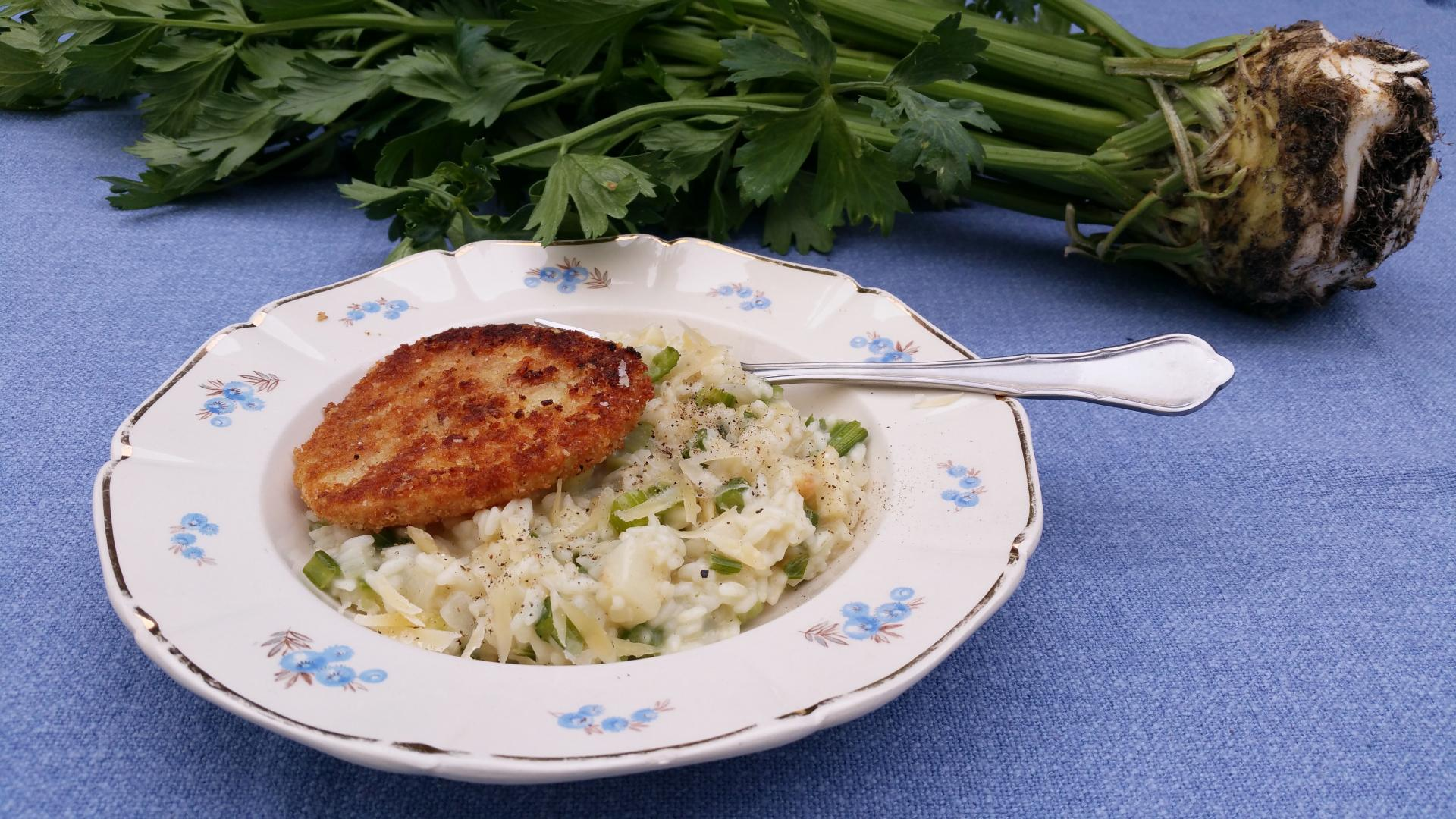 Knolselderij-risotto met knolselder-schnitzel