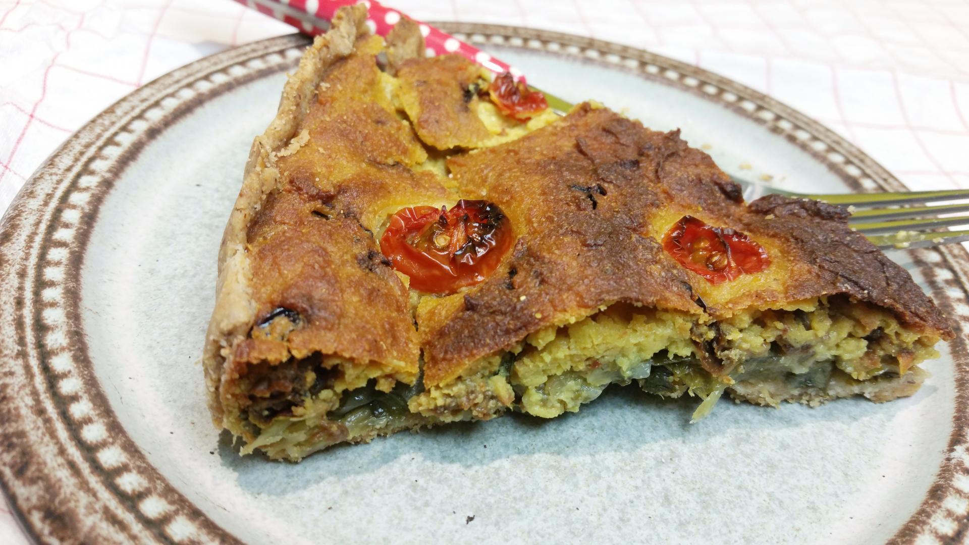 Uitgelichte foto voor het bericht Vegan quiche met andijvie