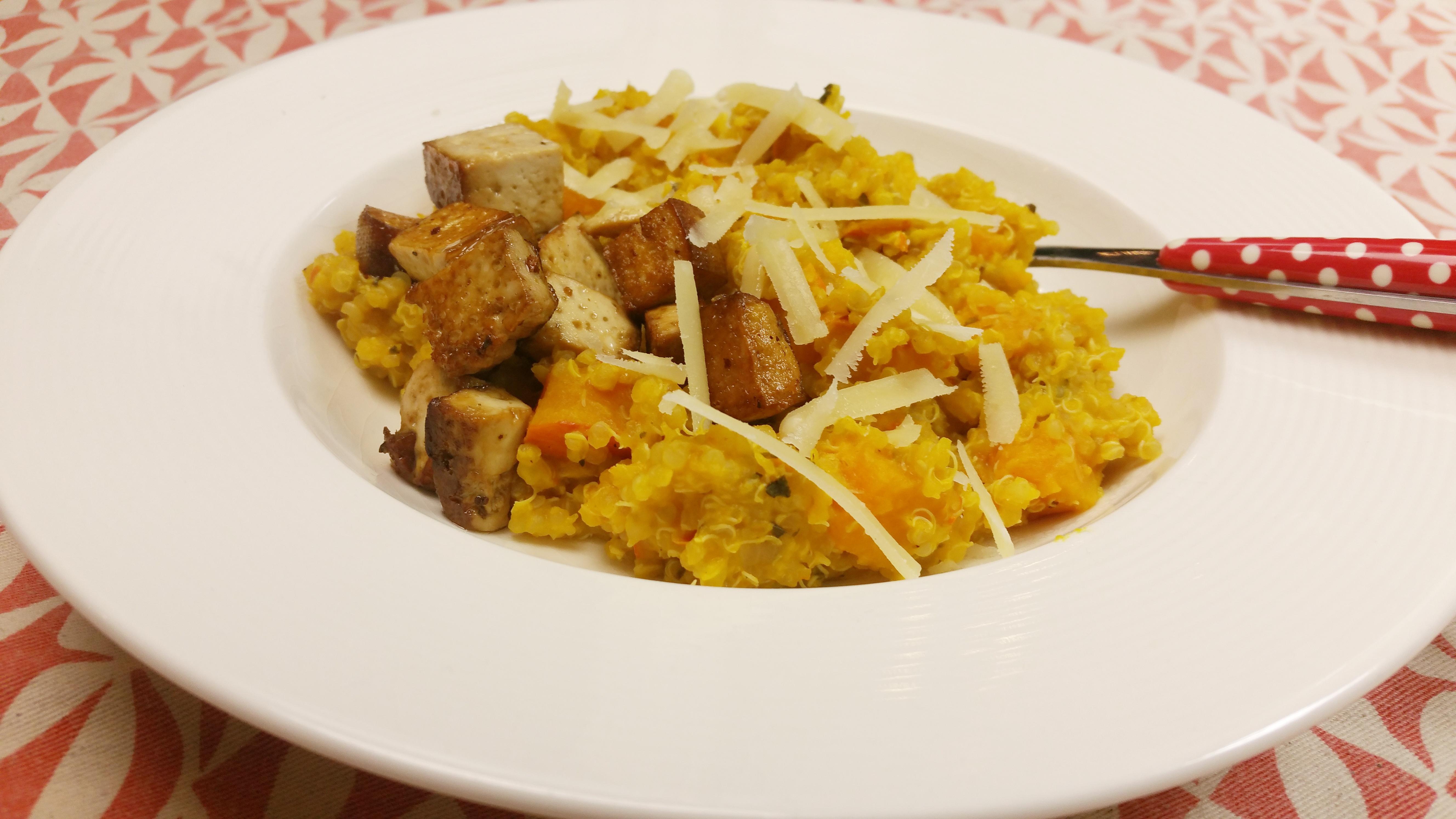 Uitgelichte foto voor het bericht Quinoa risotto met pompoen