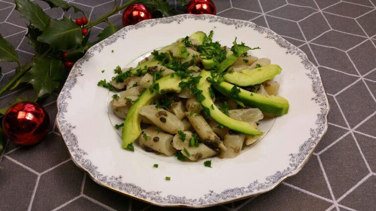 Thumbnail voor het recept: Lauwwarme salade van schorseneren, linzen  en avocado