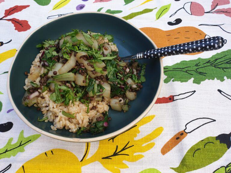 Thumbnail voor het recept: Paksoi met linzen