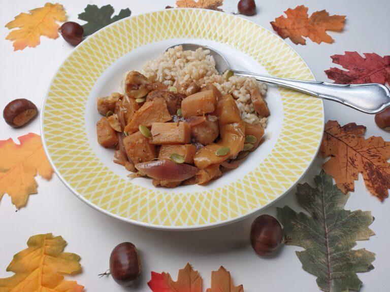 Thumbnail voor het recept: Stoofpot met koolraap, kastanje en appel