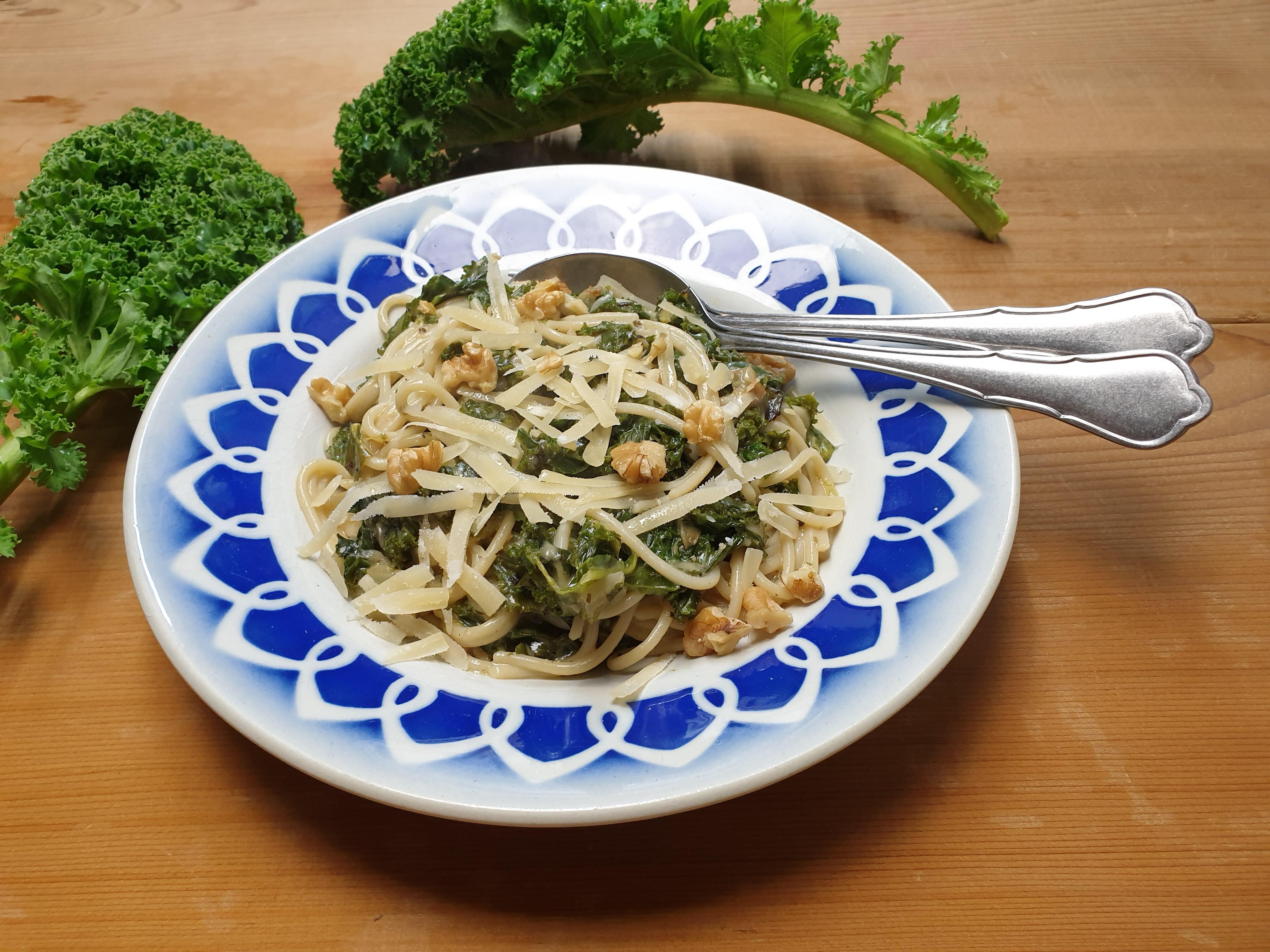 Uitgelichte foto voor het bericht Boerenkool met pasta