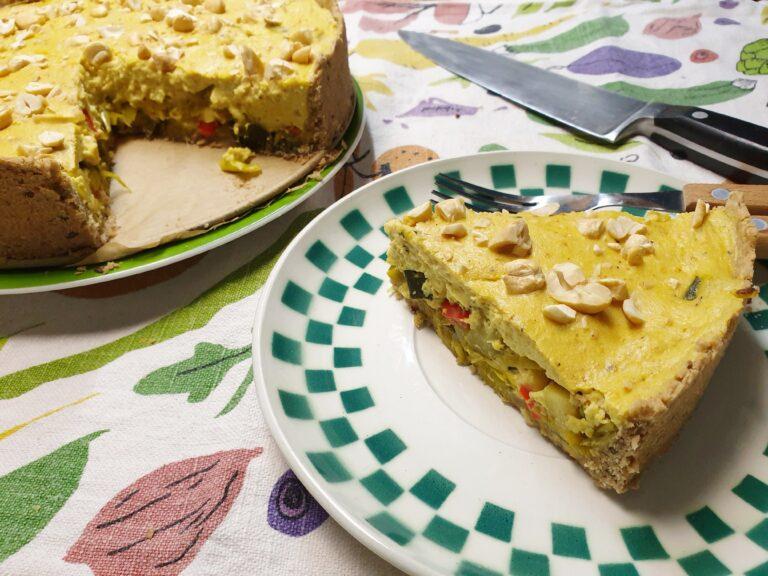 Thumbnail voor het recept: Vegan courgette-preitaart