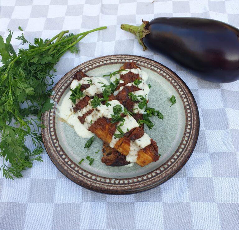 Thumbnail voor het recept: Gegrilde aubergine met koriander
