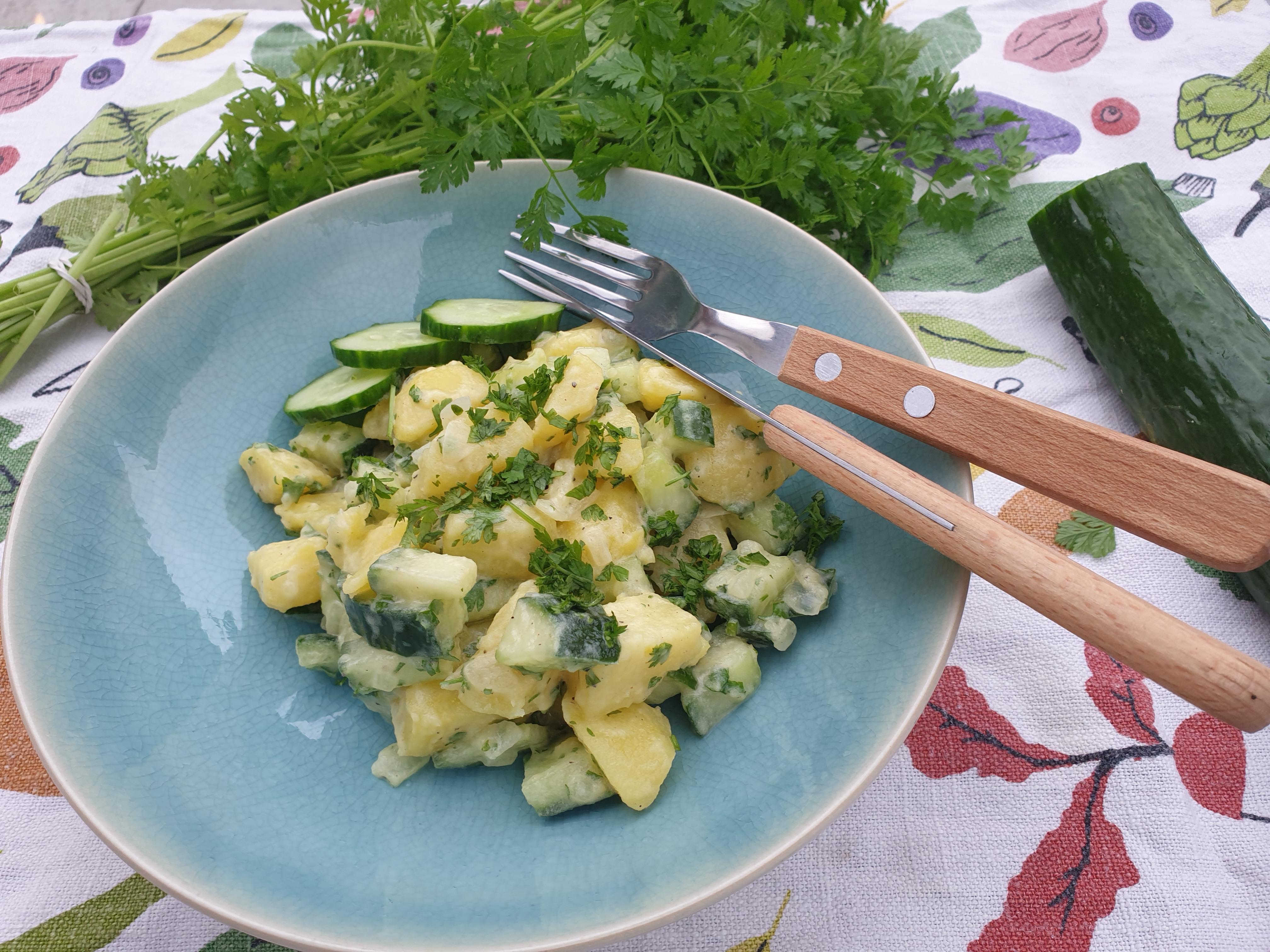 aardappelsalade met komkommer en kervel